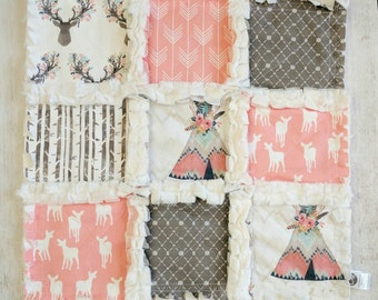 Woodland Minky Rag Quilt Lovey - Coral Lovey with Deer, Arrow, and Teepee Prints - Woodland Baby Shower Gift - Gift For Baby Girl