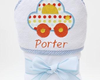 Hooded Bath Towel, Baby Bath Towel, Personalized Baby Towel, Monogrammed Towel, Car Baby, Baby Beach Towel, Baby Boy, Toddler Boy
