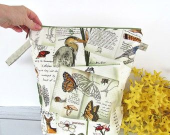 Nature Walk Knitting bag, Zipper Project bag for knitters, Q stitch frames, Tall socks bag, Crochet bag, Spindle storage bag, Mother's Day