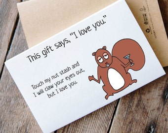 Funny Printable Card for Gift - squirrel card for gift