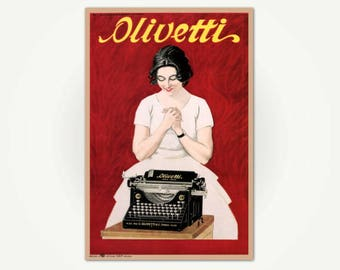 Olivetti Typewriters Poster Print - Vintage Italian Advertising Poster Art -  Marcello Dudovich - Olivetti, 1921 Vintage Typewriter Ad