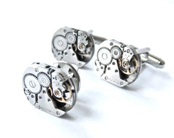 Steampunk Cufflinks set 17 Jewel Steampunk wedding set