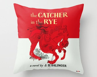 The Catcher in the rye Pillow cover - Book cover pillow- Salinger pillow - Christmas gifts - Holden Caulfield pillow - Gifts for boyfriends