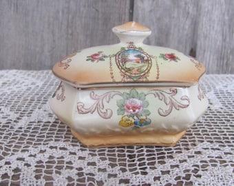 Antique Trinket Box; F&Sons Ltd Cranford Ware Burslem England; Vintage Porcelain Jar with Landscape Scene; Hand Painted Ceramic Jar with Lid