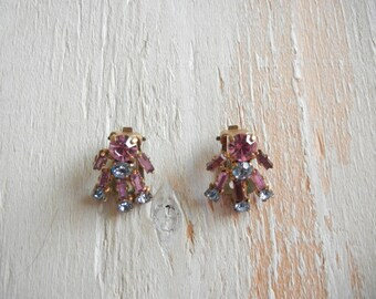 1950's  Pink and  Blue  Rhinestone Earrings