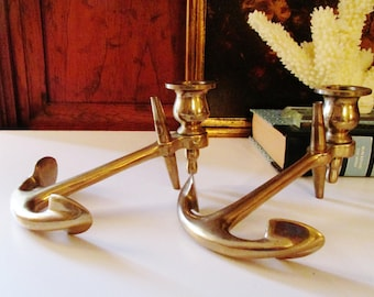 Vintage Brass Anchor Candlestick Holders, Brass Nautical Decor, Beach Chic, Brass Decor, Anchor Candle Holders