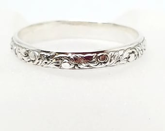 Leaf Vine & Bud Patterend Wire Sterling Silver Wedding Band Promise Ring SZ12 US