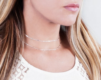 Sterling Silver Chain Necklace, Choker Chain Necklace, Minimalist Necklace, Layered Choker, 925 Silver Collar Necklace, Simple Silver Chain