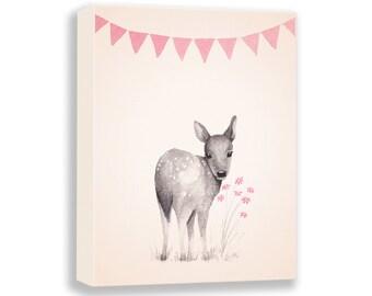 Baby Deer Canvas - Deer Nursery Art - Pink and Gray Nursery Decor - Woodland Themed Nursery - Baby Girl Nursery - Fawn - CANVAS - D04