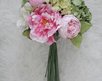 Bespoke Paper Bridal Set - Paper Pink Peony Bridal Bouquet, Wrist Corsage, Groom Boutonniere, Diameter 9 inches