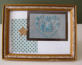 Picture embroidered blue heart and Star