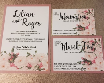 Dusty rose floral lace wedding invitation/ Quinceañera/baptism