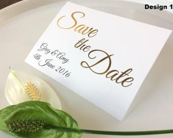 Save the Dates, Cards, Invitations, Gold Foil, Wedding Stationary, Personalised, The Violet Collection
