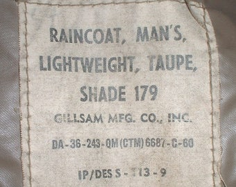 US Army Taupe raincoat size 36 Long; Gillsam 1960 missing one button
