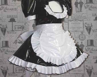The Vikki - Sissy French Maid Dress PVC complete with Frilly Apron