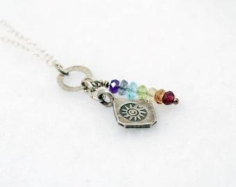 Silver SUN SALUTATION 7 Chakra Necklace   Chakra Stones   Silver Sun necklace   Yoga Jewelry   Chakra Jewelry   Sunlight of the Spirit