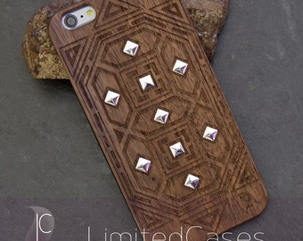 "Case for iphone 6plus, 6s Plus with genuine Walnut-Wood edition, laser engraving ""rivets""-Special edition"