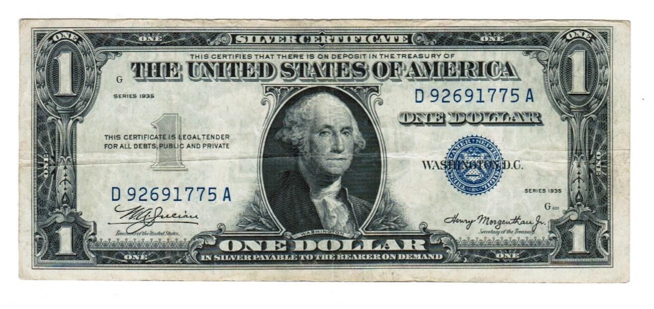 1935 one dollar silver certificate fr 1607 double date da description very rare 1 1935 silver certificate 1betcityfo Images