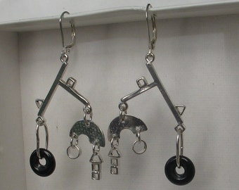New Mobile Earrings Sterling and Onyx