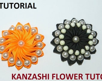 PDF Tutorial Grosgrain ribbon kanzashi flower with beads, fabric flower tutorial,Grosgrain ribbon kanzashi flower tutorial