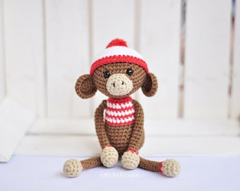Crochet monkey stuffed animal, monkey amigurumi doll, toy monkey, monkey nursery decor, baby monkey toy, crochet doll, baby shower gift