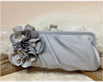 Wedding clutch, Bridesmaid clutch, Gray clutch, silver clutch, evening bag, Bridesmaid bag, crystal clutch, flower bag9