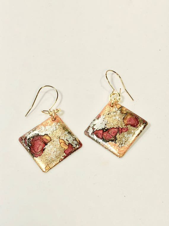 SJC10195 - Handmade small diamond shape gold/silver/orange/red enamel gold filled earrings with abstract designs