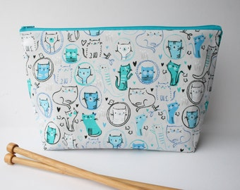 Knitting bag, Cat crochet project bag, Knitting project, Teal and grey large zipper pouch for yarn and craft storage, sock bag.