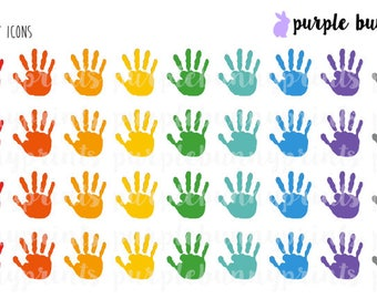Rainbow Hand Print Icons // Planner Stickers!