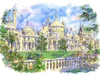 ROYAL PAVILION PRINT, Brighton, Watercolour painting, Mounted Print, Architecture Drawing, Wedding Gift, Illustration, Pen and Ink Drawing
