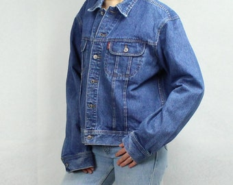 Vintage Denim Jacket 90's Jean Jacket Blue Denim Jacket Mens Denim Jacket Grunge XL Size