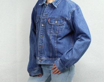 Chaqueta vaquera Vintage años 90 chaqueta de la mezclilla del dril de algodón azul chaqueta para hombre Denim Jacket talla XL de Grunge