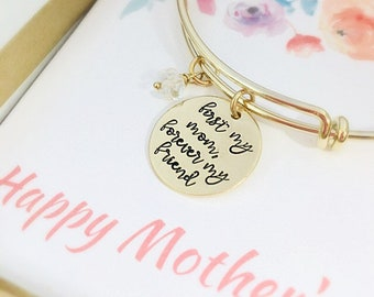 First My Mother, Forever my Friend - Mothers Day Gift Box - Gift for Mom from Daughter - Mother Gift - Mother Bracelet - Gold Mom Bracelet