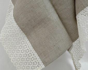 Kitchen towel, linen towel,  burlap linen towel, lace towel