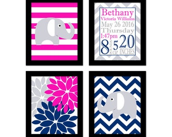 Pink and Navy Nursery Art - Baby Girl Nursery Art -  Chevron Nursery Art - Girl Bedroom Wall Art