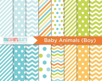 Digital Paper - Baby Animals (Boy), Safari Animals, Scrapbook Paper, Digital Pattern, Commercial Use, JPEG, PDF