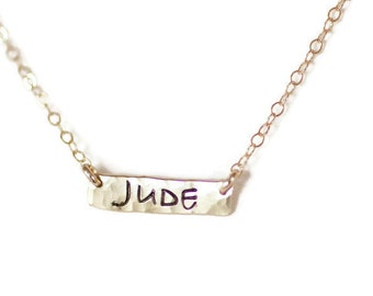 Gold Necklace, Gold Bar Necklace, Name Necklace, Hammered Bar, Simple Bar Necklace, Personalized Necklace, Dainty Necklace, Sterling Silver
