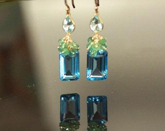 14k solid gold genuine swiss blue topaz, emerald earring