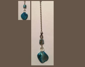 Ceiling Fan or Lamp Pull - Teal & simulated crystal beads