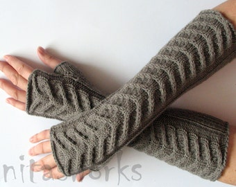 "Fingerless Gloves Long Gray Brown 14"" Mittens Arm Warmers, Acrylic Wool"