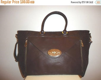 50% OFF Really Nice Vintage Dk. Brown Leather Satchel/Shoulder Bag