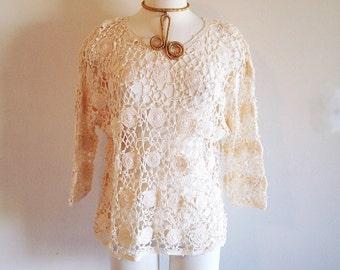 SALE! Vintage Boho Ivory Crochet Sweater