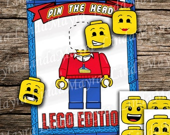 Lego inspired Pin the head game instant download