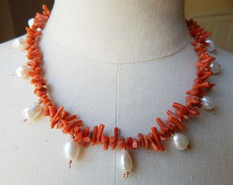 Antique Style Necklace in Rare Vintage Mediterranean Coral with Freshwater Pearls