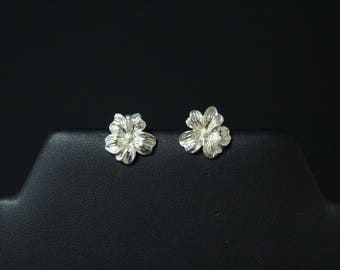 Sterling Silver Flower Stud Earrings, Sterling Flower Studs, Flower Earrings, Sterling Flower Earrings, Floral Earrings, Flower Jewelry