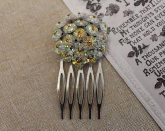 Vintage - Antique - Silver, Floral Bridal Hair Comb - Headpiece - Bridesmaid