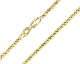 "10K Solid Yellow Gold Box Necklace Chain 1.2mm 16-24"" - Polished Link"
