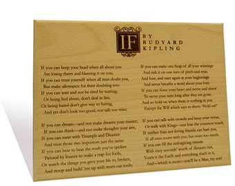 If by  Rudyard Kipling engraved on a  Wooden Plaque
