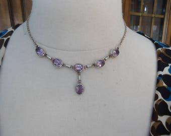 "Vintage 925 Sterling Silver Amethyst Bib Style Necklace 16"" Long"