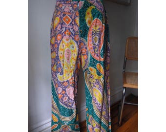 Reserved - 1970s Handmade Paisley Psychedelia Bell Bottoms